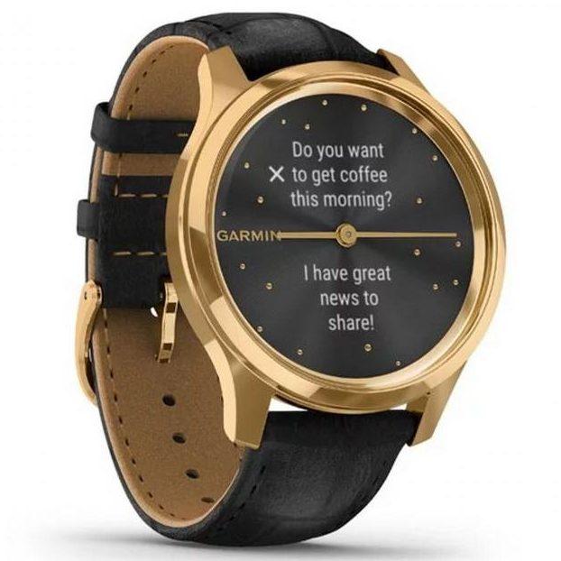 Хибриден смарт часовник GARMIN Vívomove Luxе Black Embossed/24K Gold