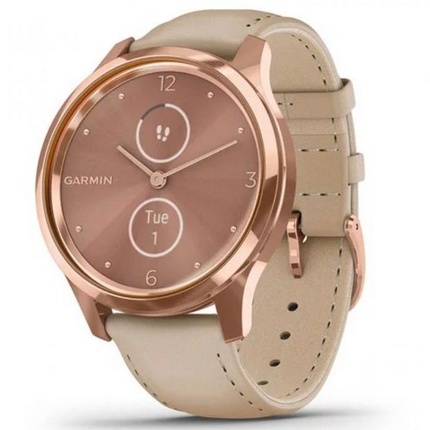 Хибриден смарт часовник GARMIN Vívomove Luxе Light Sand/18K Rose Gold