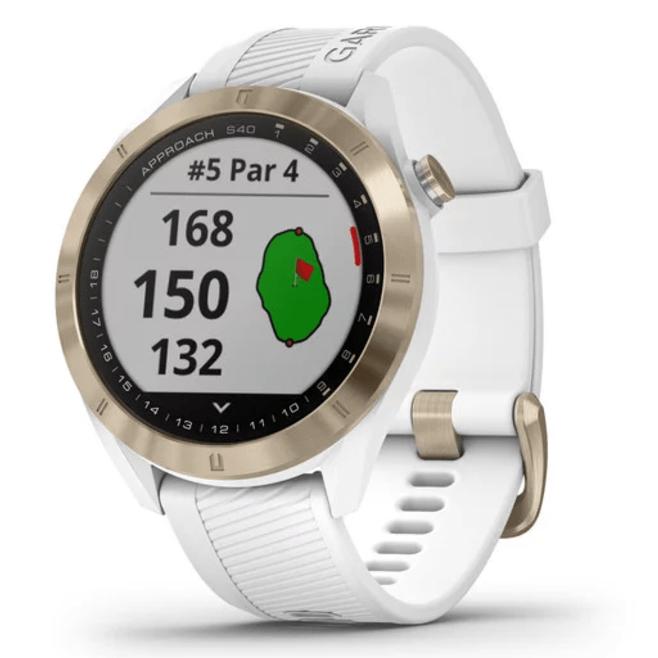 Часовник с GPS за голф GARMIN Approach S40 Light Gold с бяла каишка